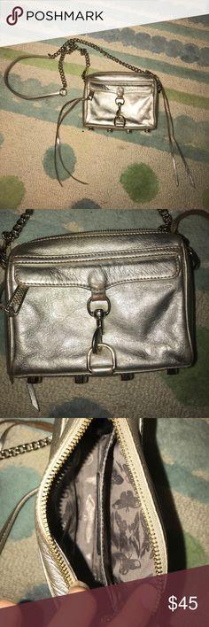 Rebecca Minkoff Mini Crossbody Bag In good condition! The color is a silvery platinum Rebecca Minkoff Bags Crossbody Bags