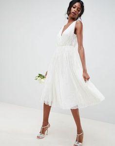Bild 1 av ASOS EDITION – Bröllopsklänning i midilängd med paljetter och vattenfallsdesign