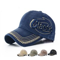 Unisex Pure Cotton Baseball Caps CLASSIC Letter Embroidery Comfortable Adjustable Hats