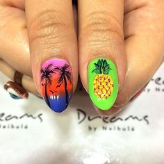 Sunset and pineapple thumbs for @mspennylanee💜💜 To make an appointment call @neihulesalon 213.627.5300💅  #maniq #summernails #gelnail #miaminails #summercolors #youngnails #handpainted #handpaint #art #nails #nailart #nailartdesigns #gelnails #gelmani #gelnailart #nailstagram #nailsofinstagram #nails2inspire #nailswag #sweetbcreations #neihulesalon #neihulenailsalon #LA #losangeles #downtownla #nailday
