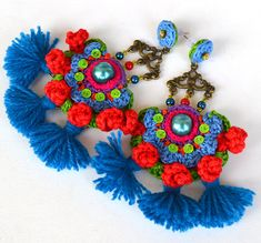 red blue earrings oversized earrings pom pom earrings huge