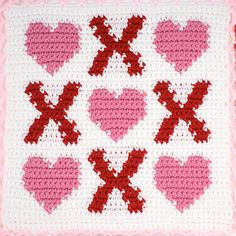 Heart Squares Afghan, Square 4: Hearts and Kisses