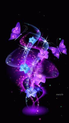 Purple and Blue fractal flowers & Butterflies Cute Galaxy Wallpaper, Purple Wallpaper, Flower Wallpaper, Nature Wallpaper, Wallpaper Backgrounds, Butterfly Pictures, Butterfly Flowers, Beautiful Butterflies, Flowers Gif