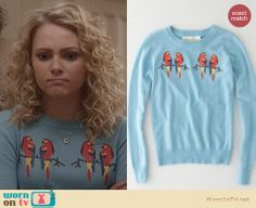 Carrie's blue parrot sweater on The Carrie Diaries. Outfit Details: http://wornontv.net/24742 #TheCarrieDiaries #fashion