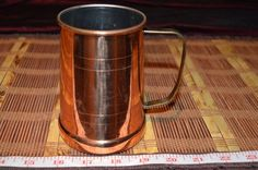 """ODI Solid Copper Mug with Brass Handle Made in Korea 4 5/8""""x4 3/8"""""""