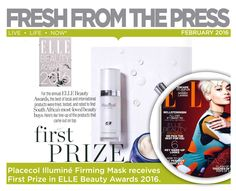 For the annual ELLE Beauty Awards, the best of local and international products were tried, tested and rated to find South Africa's most- loved beauty buys. Illuminé Firming Mask was rated best face mask    Best Face Mask, Beauty Awards, Live Life, South Africa, Beauty Products, Good Things, Fresh, Amazing, Stuff To Buy