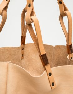 Yelapa Tote in Nude - Use image as guideline for attaching straps to bags.
