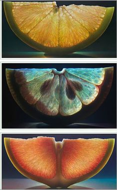 Image by jo de mornay davies. This image shows a cross section of fruits with full details of its layer. A Level Photography, Fruit Photography, Still Life Photography, Macro Photography, Color Photography, Natural Forms Gcse, Vegetable Pictures, Geometric Nature, Fotografia Macro