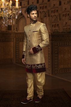 Cream & gold khinkwab suave indo western sherwani -IW223 #cream #gold #khinkwab #Indowestern #sherwani #wedding #2015collection