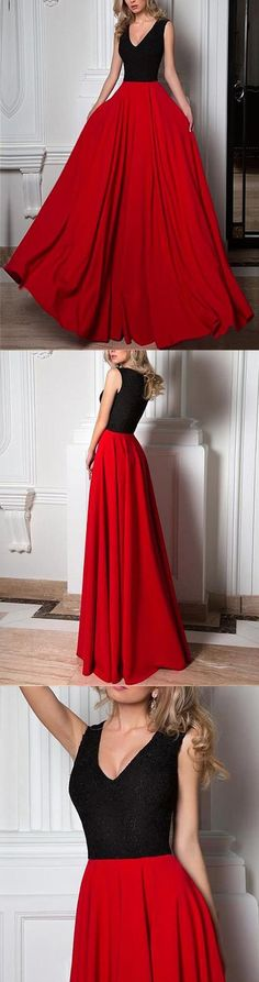 Simple Long A-line Black Lace Top Red Chiffon Sleeveless Charming Prom Dresses,PD00006