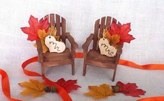 Adirondack Cake Topper Fall Wedding by WeddingFavorsandMore, $30.99 Could probably find tiny doll chairs and glue tags and leaves to them for like $10 total..