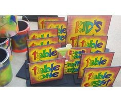 Neon graffiti style table markers