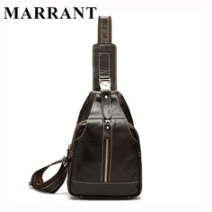 MARRANT Genuine Leather Men Bag Fashion Men's Chest Pack Man Small Travel Bag Male Messenger Bag Crossbody Shoulder Handbag 8101
