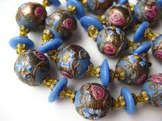 Vintage 60s Italian Venetian Blue Art Glass Gold by SoCalJewelBox
