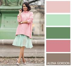 Mint green and pastel pink Colour Combinations Fashion, Color Combinations For Clothes, Fashion Colours, Colorful Fashion, Color Combos, Color Schemes, Color Harmony, Color Balance, Balance Design