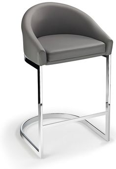 Ikany Fixed Height Kitchen Breakfast Chrome Bar Stool Grey Padded Seat with Back