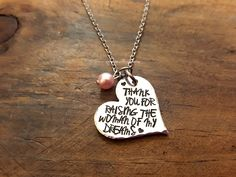 Thank You For Raising The Woman or Man Of My Dreams Necklace, Gift for Mother In Law, Mother of the Bride or Groom Necklace, Wedding Gift by JazzieJsJewelry on Etsy