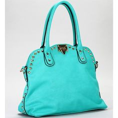 Turquoise Gold Studded Handbag ❤ liked on Polyvore