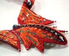 Textile Jewellery  Embroidered Necklace Burning Wings in by WaiYuk