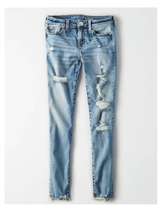 Shop at American Eagle for Jeggings that look as good as they feel. Cute Ripped Jeans, Womens Ripped Jeans, Ripped Jeans Outfit, Ae Jeans, Curvy Jeans, Cropped Skinny Jeans, American Eagle Outfits, American Eagle Shirts, American Eagle Sweater