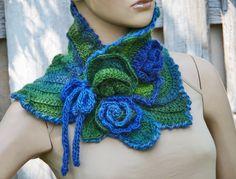 Crochet Scarf Capelet /Blue/ green Flower/ Neck Warmer by Degra2