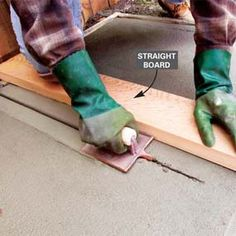 Techniques for making a smooth durable finish on a concrete surface. Concrete Patios, Diy Concrete Slab, Poured Concrete Patio, Concrete Tools, Concrete Patio Designs, Smooth Concrete, Cement Patio, Concrete Driveways, Concrete Projects