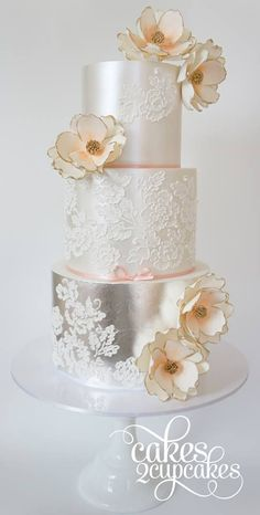 Gorgeous Wedding Cake Inspiration from Cakes 2 Cupcakes peach blush silver leaf lace Amazing Wedding Cakes, Elegant Wedding Cakes, Elegant Cakes, Wedding Cake Designs, Lace Wedding Cakes, Gold Wedding, Lace Cakes, Metallic Wedding Cakes, Purple Wedding