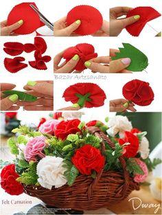 Flor de feltro ou tecido, lindo arranjo de mesa...    Bazar Artesanato no Facebook  https://www.facebook.com/BazarArtesanato