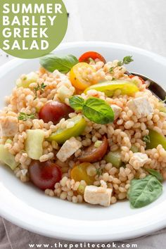 A fresh, vibrant vegetarian salad with summer Mediterranean flavors - This Barley Greek Salad is quick to make, great on its own and simply amazing with any grilled fish or meat! #vegetarian #summer #salad thepetitecook.com