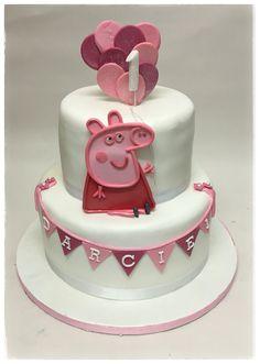 Two tier first birthday Peppa pig children's celebration cake