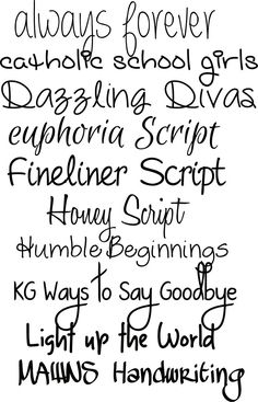 Ten handwriting fonts from #KarenDiamondDesigns I like Eyphoria Script, Honey Script, Humble Beginnings, Light Up The World