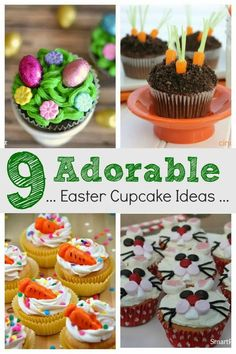 Easy Easter cupcake ideas for kids. They are all super cute and simple to make which makes them perfect for Easter entertaining. Including the Easter bunny, Easter chick, and even Spring garden ideas, you wont be short of inspiration. You can guarantee that any mom can make these. Easter Bunny Cake, Easter Cupcakes, Easter Treats, Easter Chick, Flower Cupcakes, Christmas Cupcakes, Dessert Recipes For Kids, Easter Dinner Recipes, Easter Brunch