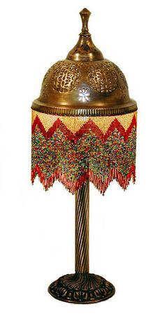 Beaded Brass Table Lamp (several more on ID : Moroccan board)