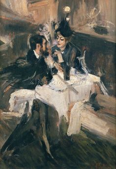 The Sweethearts Lunch, Circa 1895 Art Print by Giovanni Boldini at King & McGaw