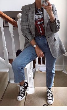 prachtige herfstoutfits - Lilly is Love Adrette Outfits, Outfits With Converse, Cute Casual Outfits, Jean Outfits, Casual Dresses, Converse Style, Blazer Outfits For Women, Women Blazer, Jeans Women