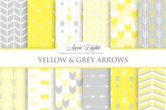 Yellow & Gray Arrows Digital Paper by Avenie Digital on @creativemarket