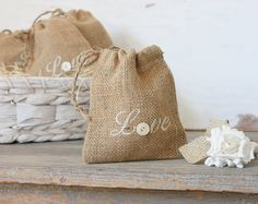 Buttons and Burlap - Love Sacks - Set of Five