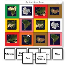 Continent Identification Bingo Game with Satellite Images