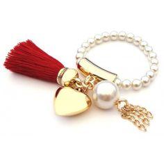 Pulsera con Perlas, Motita y Dije de Corazón
