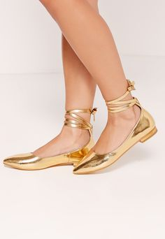 High Shine Lace Up Bridal Footwear Gold