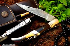 "DKC-54 SQUIRE MASTER Damascus Folding Laguiole Pocket Knife 4.5"" Folded 8.5"" Long 3.6oz oz High Class Looks Incredible Feels Great In Your Hand And Pocket Hand Made DKC Knives TM - - Amazon.com"
