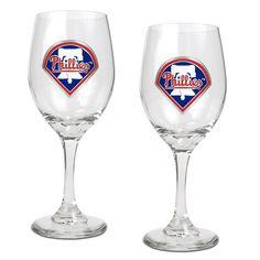 MLB Philadelphia Phillies 2pc Wine Glass Set