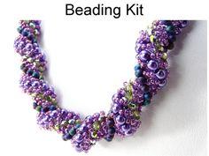 Purple Necklace Kit Beading Pattern Tutorial by SimpleBeadKits