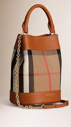 Light toffee The Small Bucket Bag in House Check and Leather - Image 3 Fashion Handbags, Fashion Bags, Women's Handbags, Burberry Handbags, Day Bag, Cloth Bags, Luxury Bags, Luggage Bags, Leather Bag