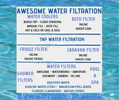 LARGE RANGE OF WATER FILTRATION : WATER PURIFIERS, WATER COOLERS, MANUAL FILL, AUTO FILL, FRIDGE, POOL & SPA,, TAP WATER FILTRATION, REVERSE OSMOSIS, WHOLE HOUSE, SHOWER FILTERS, WATER FILTERS. FLUORIDE ELIMINATORS, ALKALINE WATER STICKS, MAGNESIUM PRILL BEADS, MAIFAN STONES. RECEIVE 2 X FREE ALKALINE WATER STICKS THAT'S A SAVING OF $50.00 THAT'S AWESOME WATER COOLER AUTO FILL COME WITH A DOUBLE SWING WATER FILTRATION SO NOT JUST 1 WATER FILTRATION BUT 2... THAT'S AWESOME' Pool Shower, Double Swing, Shower Filter, Water Coolers, Water Filters, Sink Taps, Pool Spa, Waterworks, Under Sink