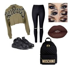 """A.H.S "" by macie-miller-1 on Polyvore featuring Topshop, NIKE and Moschino"