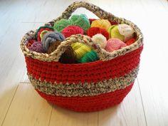 Cesto de trapillo - cesto para guardar lanas