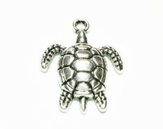 5 Turtle Charms  antique silver tone, C16 by vickysjewelrysupply. Explore more products on http://vickysjewelrysupply.etsy.com