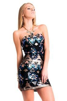 Aztec Pattern Sequined Strapless Dress. Sparkly!