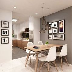 comedores modernos, espacio para comer decorado de muchas pinturas en blanco y negro modernistas, mesa de madera moderna